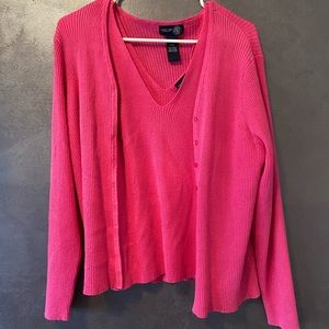 Venezia Jeans Clothing Co pink tank and cardigan